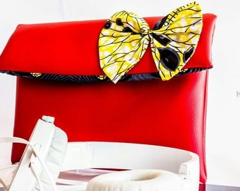 Red African print clutch