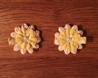 Handcrafted Hair Clips - Yellow and multicolor flowers with pearl accent in center. Yellow fabric covered alligator hair clip,handcrafted