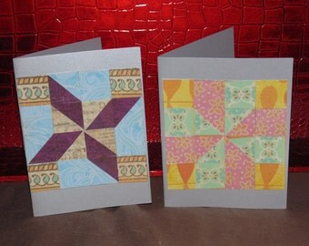 paper mosaic cards, quilt cards,set of 2  blank notecards