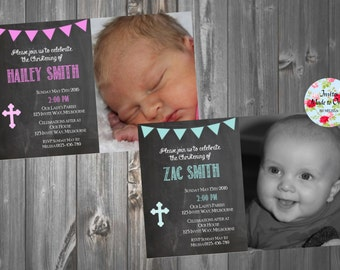Chalkboard Christening Baptism Invitation Boy Girl Pink Green with photo and cross