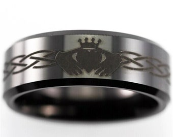 free engraving good quality celtic claddagh design ring 8mm black bevel tungsten ring comfort fit design - Mens Claddagh Wedding Ring