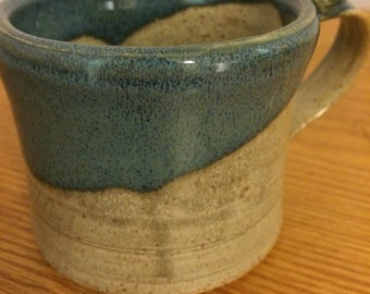 Handmade, ceramics mug- blue and grey