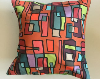 Bright Lights Big City Decorative Pillow-16x16-Throw Pillow-Pillow Cover-Multi-Green-Interior-Design-Fabric-Art-Decorating-Home Decor
