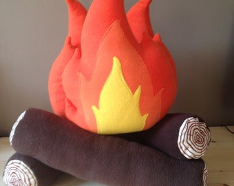 Plush pretend-play CAMPFIRE with embroidered logs and marshmallows