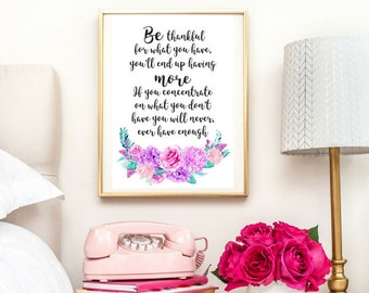 Be Thankful Quote | Typographic Print | A4 Printable (Law Of Attraction)