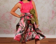 Camo Camoflauge Couture Satin Dress with Cifforn in Pink, Blue, Orange, Purple, White or Green ~ Pageant ~ Birthday ~ Handmade