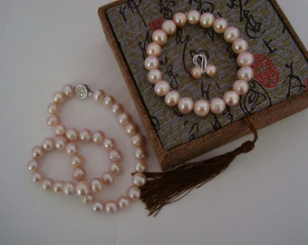 10MM  Nature  pink Pearl Necklace Sets