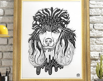 Poodle Dog A4 A5 illustration, print, art, dog print, dog drawing, poodle illustration, poodle drawing