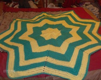 Teal Green and Lemon Yellow Star Baby Afghan