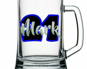 Personalised 500ml Glass Beer Handle / Beer Mug - Birthday, Grooms, Groomsmen, Unique, NZ, or for any special occasion or Party!