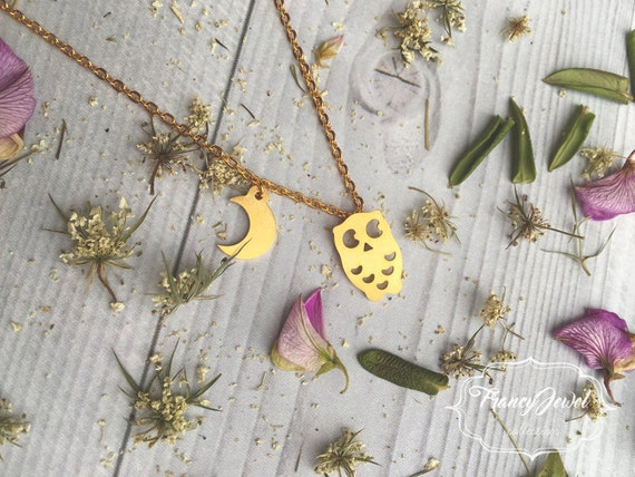 Necklace, owl necklace, gold plated jewelry, moon jewel, gold necklace, boho chic, nature inspired