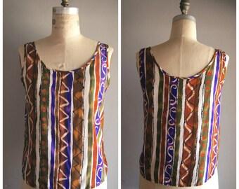 Vintage 90s Ethnic Batik Print Sleeveless Shell Top