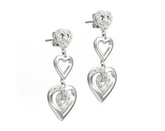 Sterling Silver Diamond Triple Hanging Heart Earrings