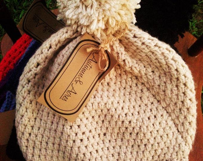 Cream Crochet Slouchy hat With pom pom