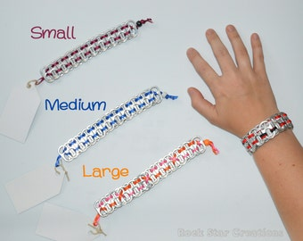 Can Tab Bracelet / Bookmark - 1-3 ribbon colors - pony bead closure (customization available)