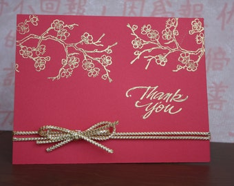 Red and Gold Cherry Blossom Thank You Card / Asian cherry blossoms/ red and gold/ thank you card / Japanese