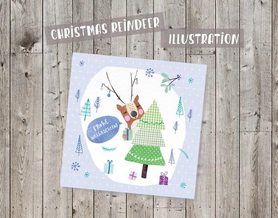 Christmas, reindeer digital Illustration, Clipart, Scrapbook, fabric mix, trees