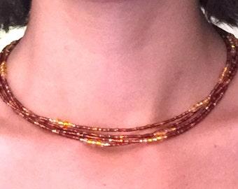 4-strand orange-copper necklace