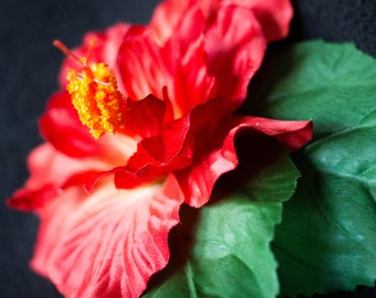 Red Hibiscus Flower Hair Clip