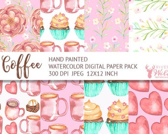Watercolor Digital Paper Pack Set, Coffee Digital Paper Pack, Watercolor Coffee Flower Clipart, Food Clipart, Tea Clipart, Commercial Use
