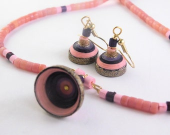 Eco-Friendly Paper Quilled Jewerly Set with Earrings and Necklace; Pink, Brown