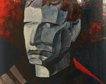 original acrylic painting, abstract painting, on wood board, 12x16inches, Iron man, red,grey.