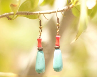 Antiqued Brass, Red Coral, and Turquoise Color Stone Earrings