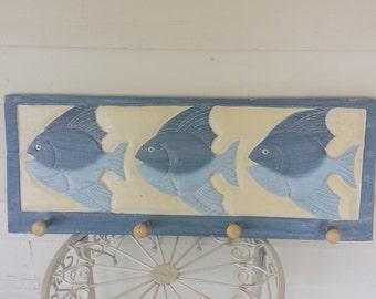 Wooden fish coat/hat rack