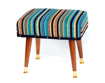 Retro Foot Stool with multi coloured stripes