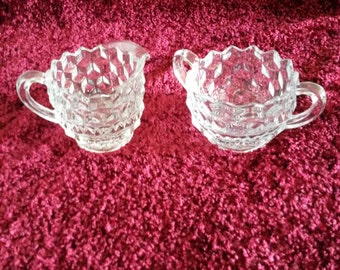 Vintage Fostoria American Cream and Sugar
