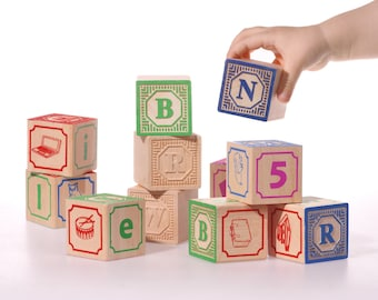 French ABC blocks, Embossed wooden blocks Alphabet