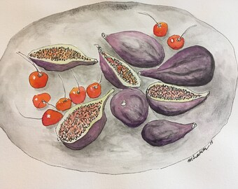 Cherries and Figs on a dish