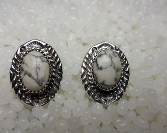 Sterling Silver Howlite Stamped - Post Earring