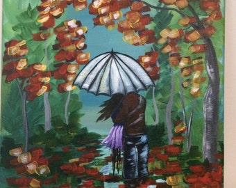 Lovers on a Walk in Fall Acrylic Painting 8x10 // engagement wedding anniversary gift// gifts for her // shower gift // housewarming