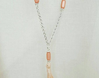 Colored tassel necklace, decoration and colored stones