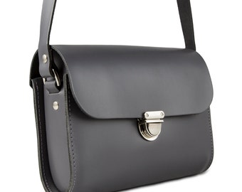 Grey Small Leather Crossbody/Shoulder Bag, Made in London