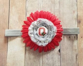 Baby girl ohio state red flower headband-Ohio state  headband for baby- OSU baby headband-Ohio State headband for infant-osu headband
