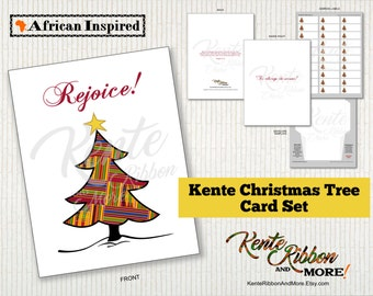"DIY - Printable Red Kente Christmas Tree Card - Size 4.25"" x 5.5"" - FREE A2 Envelope and Address Label Templates - Immediate Download in PNG"