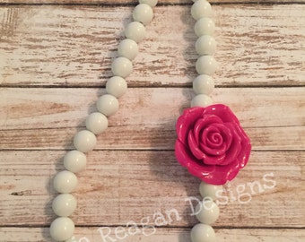 Chunky bubblegum bead necklace with resin rose