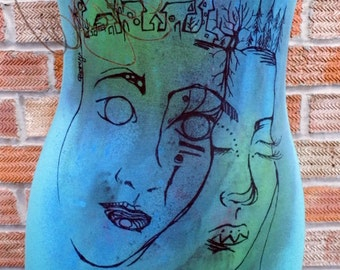 Turqiuse handpainted tank surreal faces