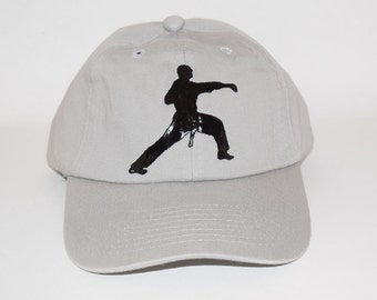 Baseball Hand Painted Caps with Karate Image