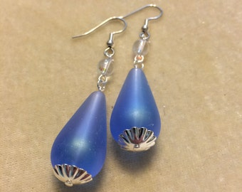 Blue Acrylic Drop Earrings