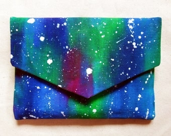 Hand Painted Canvas Envelope Clutch Purse/Small Painted Canvas Bag/Abstract Blue Night Sky/Artist Color Splash Bag