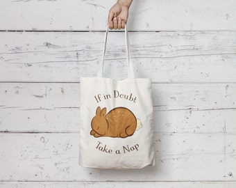 Tote Bag White Bunny - Summer/Casual/Illustration/Art/Ethical
