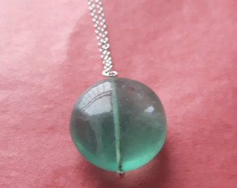 Round Fluorite Sterling Silver Necklace