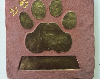10 Inch Red Concrete Personalized  Hand Painted Paw Print and Name for Dog or Cat. Stepping Stone, Garden Stone, Memorial. Your Color Choice