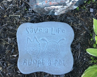 """8.5  x 9.5 Lightly Hand Painted Concrete Animal Welfare, Rescue """"Save a Life, Adopt a Pet Stepping Stone, Garden Stone, Plaque With Quote."""