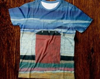 T-shirt Red House, T-shirt Malevich, T-shirt Painting, Free Shipping, T-shirt Printing