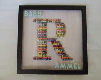 crayon letter shadow box wall hanging