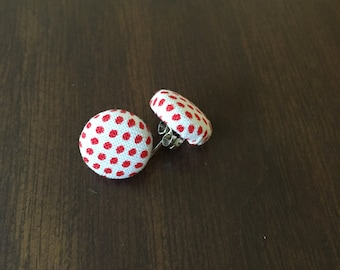 White & Red Polka Dot Fabric Button Earrings